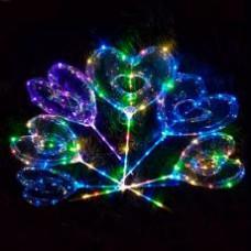 Кульки надувні, BOBO, сердце, світлові еф., гірлянда 3 м, на палці 70 см, на батарейці