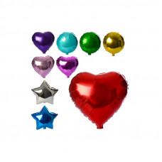 Повітряні кульки з фольги 44см, 3 вида (куля, серце, зірка), мікс кольорів