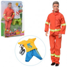 Лялька з одягом DEFA 8382 Кен, 30см, футбольна-пожежна форма, м'яч, бутси, 2 вида, в слюде