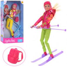 Лялька DEFA 8373 (36шт) шарнірна, 30см, лижі, рюкзак, шолом, 2 вида, в кор-ці