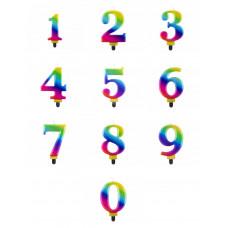 Свічки цифри '0/1/2/3/4/5/6/7/8/9', Galaxy, 8 см, в асортименті