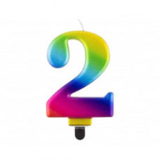 Свічка цифра '2', Galaxy, 8 см