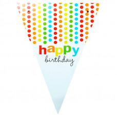 Декорація Гірлянда-прапорці Hаppy Birthday, кольоровий горох