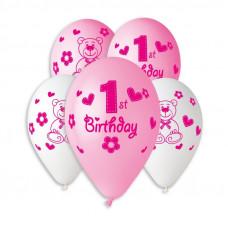 Кульки пастель, 12', Happy 1st Birthday girl