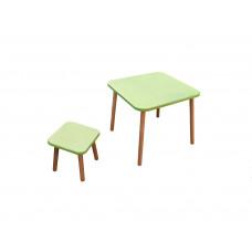 Комплект  Зелений    (столик+табурет)  вис стол 520 мм стільн (600*600 мм.) табурет вис 300 сидіння (300*300)