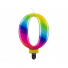 Свічка цифра '0', Galaxy, 8 см