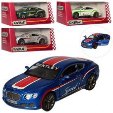 Машинка металева KINSMART інер-а, Bentley Continental GT Speed, 1:38, відч двері, гум колеса, 4 кольори, в коробці